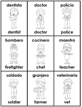 Community Helpers Bilingual Book and Flashcards: English & Spanish
