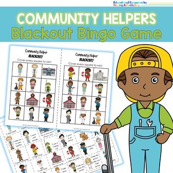 Community Helpers Blackout Bingo
