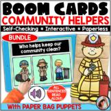 Community Helpers Boom Cards | Community Helpers Paper Bag Puppets | Bundle
