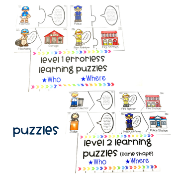 Community Helpers Bundle: Interactive Books, Puzzles, and a No Print Activity