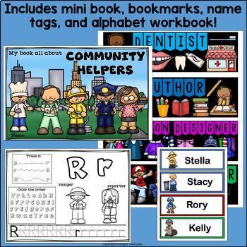 Community Helpers Bundle: Mini Book, Name Tags, Bookmarks, Alphabet Workbook
