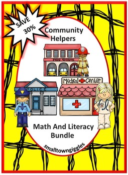 Community Helpers Math and Literacy Centers NO PREP Cut an