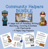 Community Helpers BUNDLE Activity Sheets, Puppets, & Flashcards