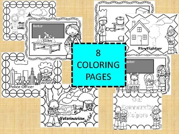 Community Helpers -  COLORING PAGES and INFORMATIONAL TEXT