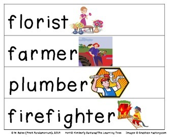 Community Helpers Career Theme Pocket Chart Word Vocabulary Cards