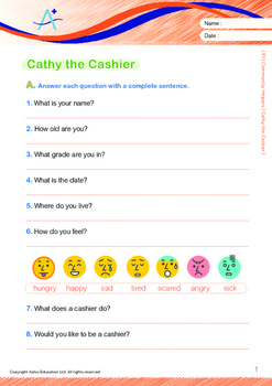 Community Helpers - Cathy the Cashier - Grade 1