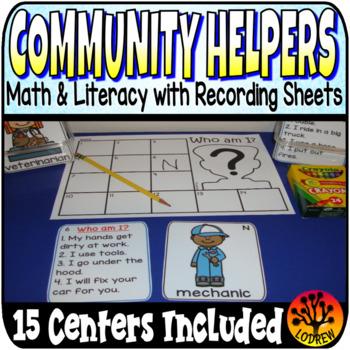 Community Helpers Centers Activities Literacy Math Fine Motor Bundle