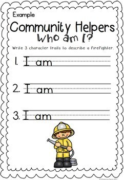 Community Helpers Character Trait Activities - Who am I?