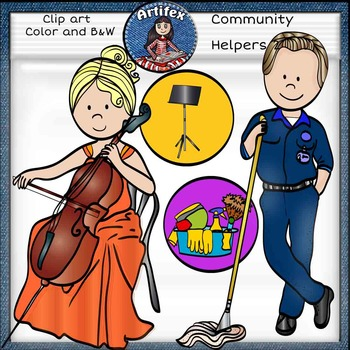 Community Helpers Clip Art 2 -Color and B&W- 48 items!