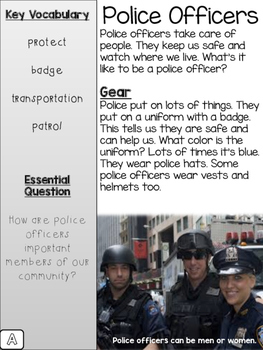 Community Helpers Close Reading/Guided Read Texts {Differentiated}
