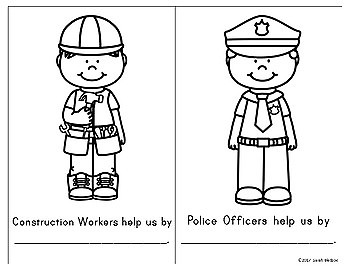 Community Helpers Color and Fill In Book