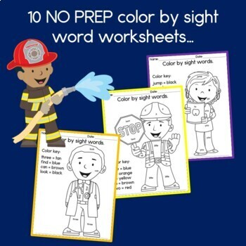 Community Helpers Color by Sight Words (Pre-primer words)