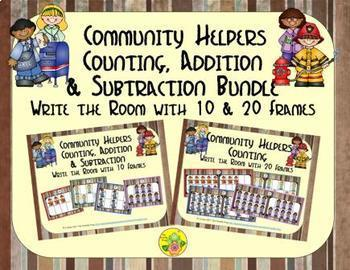 Community Helpers Count, Add & Subtract Bundle with 10 & 20 Frames {Subitizing}
