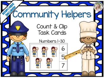 Community Helpers Count & Clip Numbers 1- 30 Task Cards