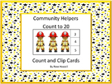 Community Helpers, Count and Clip, Kindergarten Math, Spec