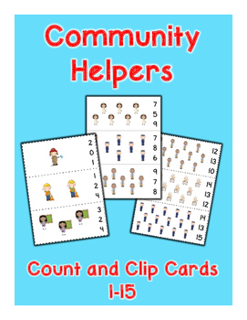 Community Helpers Count and Clip Cards - Set of 15