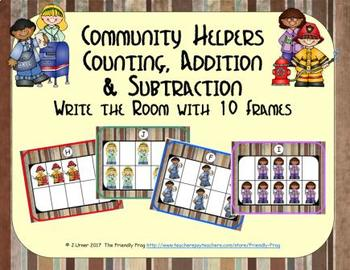 Community Helpers Counting, Addition & Subtraction with Ten Frames {Subitizing}