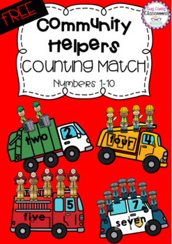 Community Helpers Counting Match - numbers 1-10