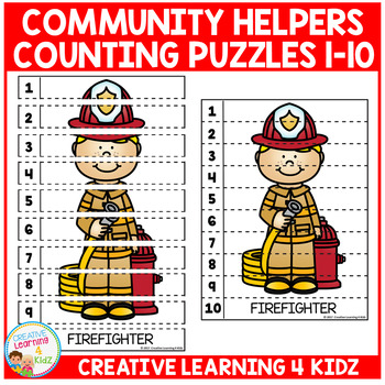 Community Helpers Counting Puzzles Numbers 1-10