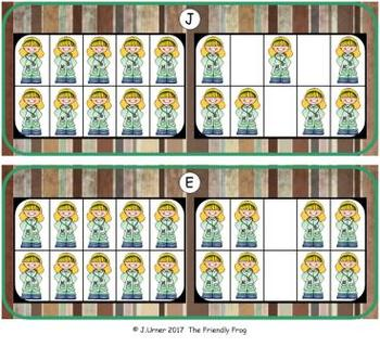 Community Helpers Counting with 20 Frames {Subitizing}