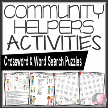 Community Helpers Crossword Puzzle and Word Search Find Activities