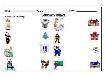 Community Helpers Cut & Paste & Matching Worksheets: