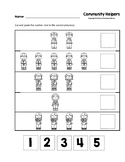 Community Helpers Cut and Paste Numbers 1-5 B&W Worksheets