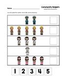 Community Helpers Cut and Paste Numbers 1-5 Worksheets