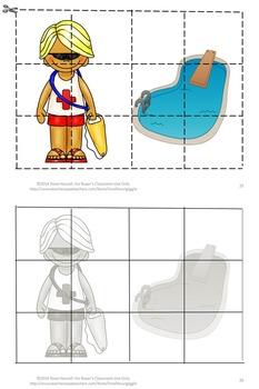Community Helper Puzzles, Kindergarten, Special Education ,Cut and Paste Puzzles