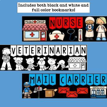 Community Helpers Cut n' Color Bookmarks: Black and White AND Full Color