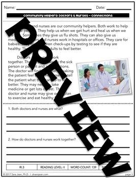Doctors & Nurses • Reading Comprehension Passages and Questions • RL I & II