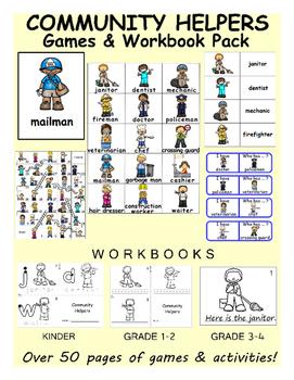 Community Helpers ESL Workbook & Games Package