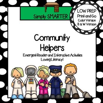 Community Helpers Emergent Reader Book AND Interactive Activities