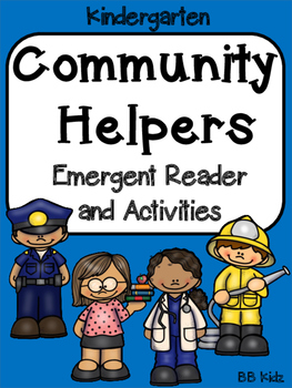 Community Helpers Emergent Reader /Color by Number / Writing/ Kindergarten