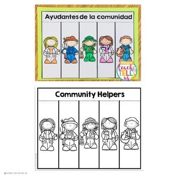 Community Helpers English and Spanish Ayudantes de la comunidad