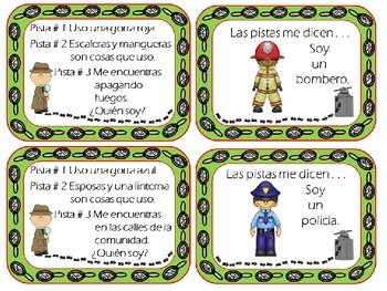 Community Helpers: Find the Clues Match mine in Spanish