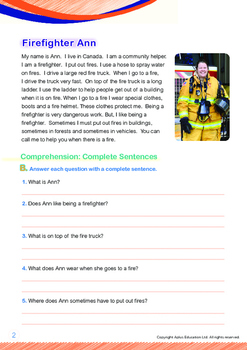 Community Helpers - Firefighter Ann - Grade 1