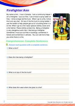 Community Helpers - Firefighter Ann (with 'Triple-Track Writing Lines')