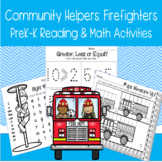 Community Helpers Firefighters PreK-K Reading Math Activit