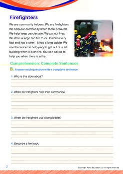 Community Helpers - Firefighters (with 'Triple-Track Writing Lines')