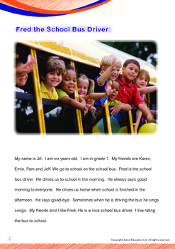Community Helpers - Fred the School Bus Driver - Grade 1