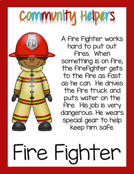 Community Helpers Informational Text Pack - Fire Fighter Free Sample!