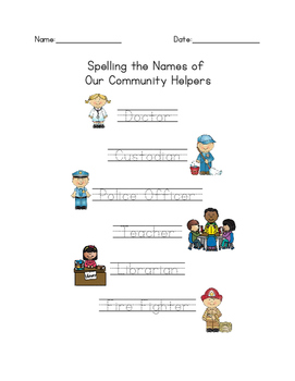 Community Helpers Handwriting Practice Sheet