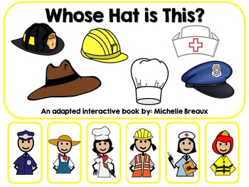 Community Helpers Hats Adapted Interactive Book Special Education, Autistm, SLP
