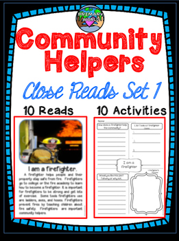 Community Helpers Close Reading and Comprehension Activity  Set 1