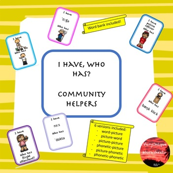 Community Helpers I Have, Who Has?