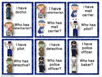 Community Helpers - I Have Who Has Cards & Vocab Cards