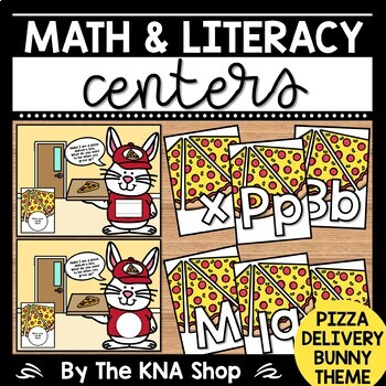 Community Helpers | Labor Day Pizza Delivery Bunny Theme Math & Literacy Centers
