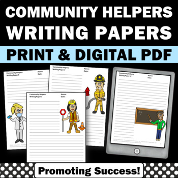 Community Helpers Writing Paper, Labor Day Activities, Lit