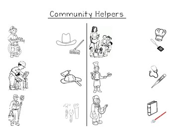 Community Helpers Matching Worksheet by Julia Tolbert | TpT